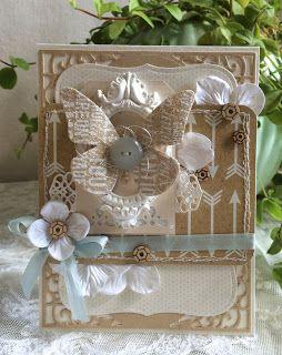 Blomsterbox: Kort med glitter-sommerfugl