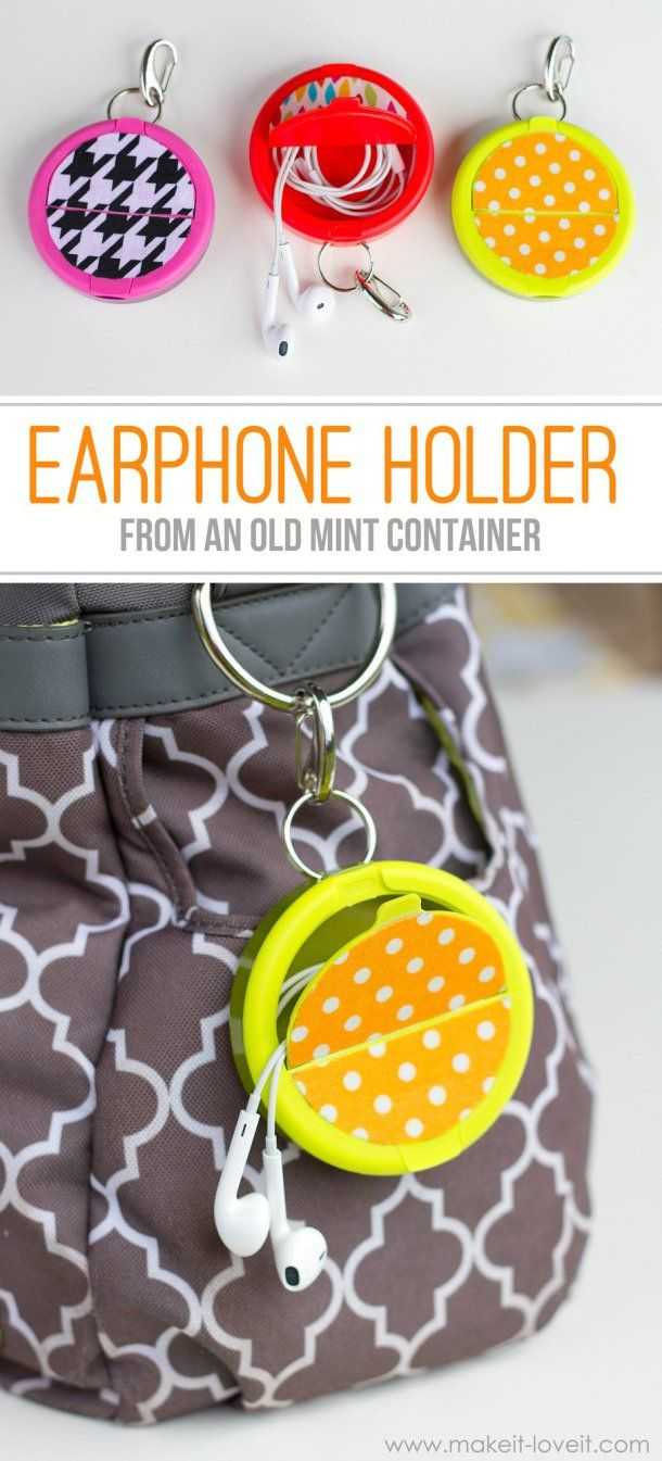 DIY Back to School Projects for Teens and Tweens Handmade Clip On Ear Buds Holder Upcycle from an old mint container - easy do it yourself project