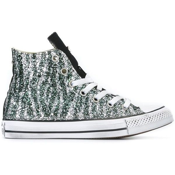 Converse 'Chuck Taylor All Star' hi-top sneakers ($205) ❤ liked on Polyvore featuring shoes, sneakers, green, high top sneakers, green glitter shoes, hi tops, high top shoes and green shoes
