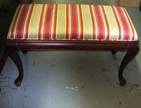 A beautiful Queen Anne style bench.  Solid wood legs.  Could easily be re-covered and refinished or painted to make an amazing entry way bench, kitchen table seating, end of bed bench, vanity seat, the options are endless.