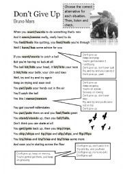 English worksheet: Simple Present Song Activity - Don´t Give Up