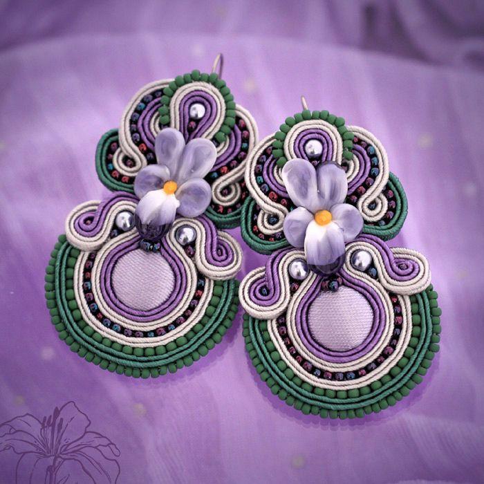 Soutache earrings Violets   author: Zuzana Hampelova Valesova (Lillian Bann)   www.z-art-eshop.cz   http://www.facebook.com/pages/Z-ART/539656212733510