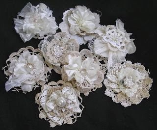 Lace Flowers - so many ways to use all those lace snipets and small embellies - just beautiful!