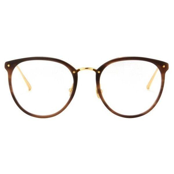 Shop Linda Farrow (€565) ❤ liked on Polyvore featuring accessories, eyewear, eyeglasses, glasses, sunglasses, oversized glasses, round glasses, linda farrow glasses, rimmed glasses and round eye glasses
