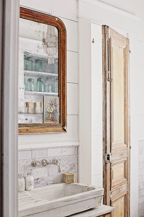 Dreamy Whites: French Inspired Bathroom Remodel, Carrera Marble Subway Tile, Hex Tile, and a French Stone Sink