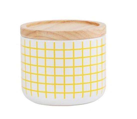 Yellow grid small canister #worthynzhomeware wwworthy.co.nz