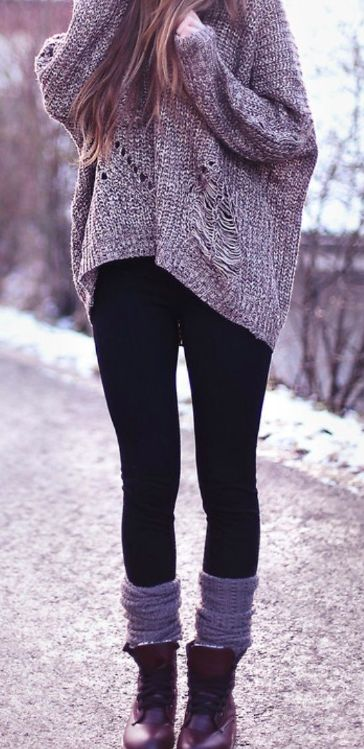 socks in combat boots and then oversize, warm sweater with leggins! perfecto