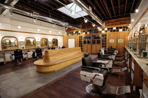 brooklyn barbershop. Love the center seating and wood.