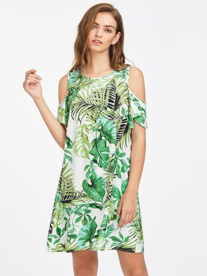 Vestido tropical con hombro abierto