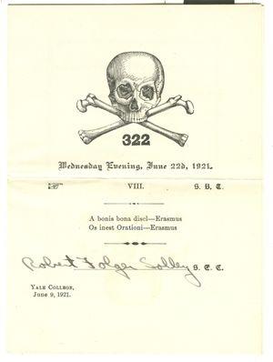 Yale Skull Bones Society Fraternity Initiation 1921