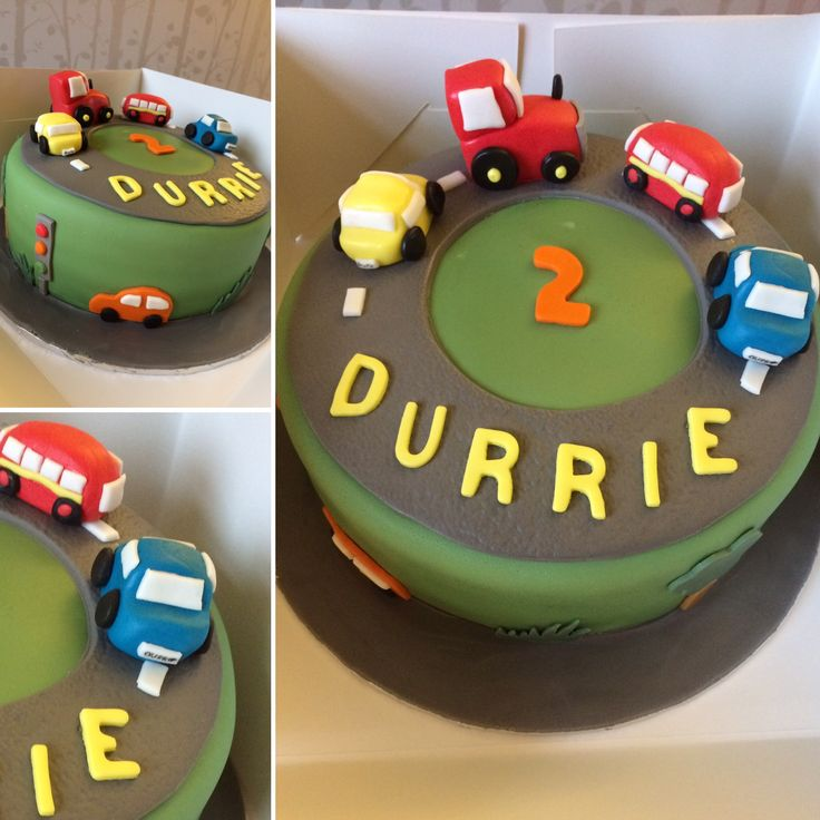 Cars and busses birthday cake
