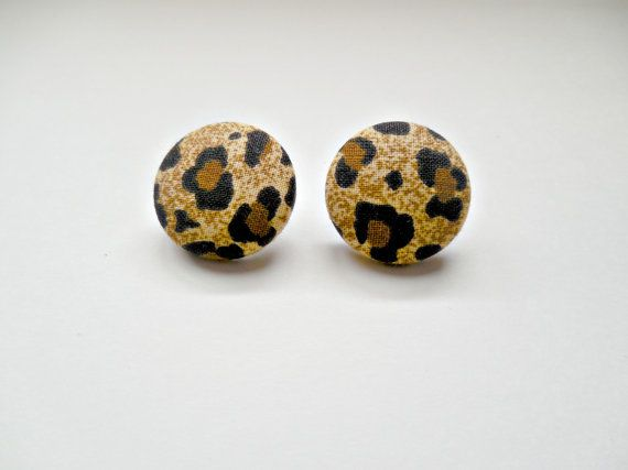 Handmade Fabric Covered Button Earrings by ShineOnMeJewels on Etsy