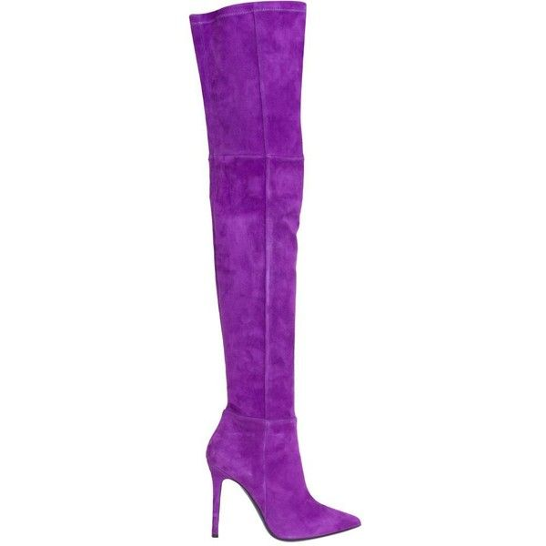 Amen Suede cuissardes (€965) ❤ liked on Polyvore featuring shoes, purple, suede leather shoes, purple shoes, suede shoes and purple suede shoes