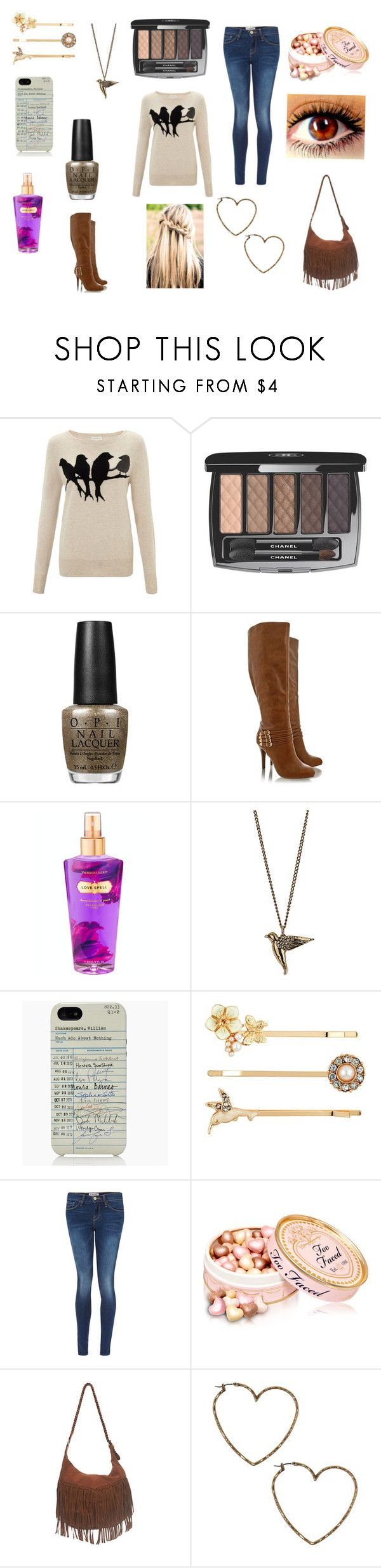 """Birdy"" by i-heart-one-d ❤ liked on Polyvore featuring Monsoon, Chanel, OPI, Blink, Victoria's Secret, Dorothy Perkins, Kate Spade, Red Herring, Frame and Wet Seal"