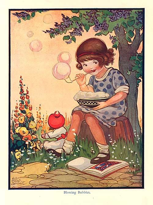 A 1930s storybook illustration print signed by HGC Marsh Lambert with the caption Blowing Bubbles with a little girl seated under a tree with