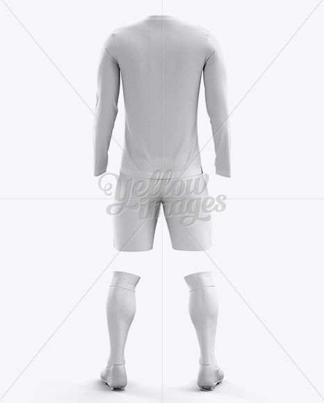 Soccer Kit With Long Sleeve Mockup / Back View
