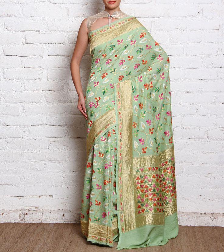 Pista Green Hand Woven Munga Georgette Saree With Meenakari