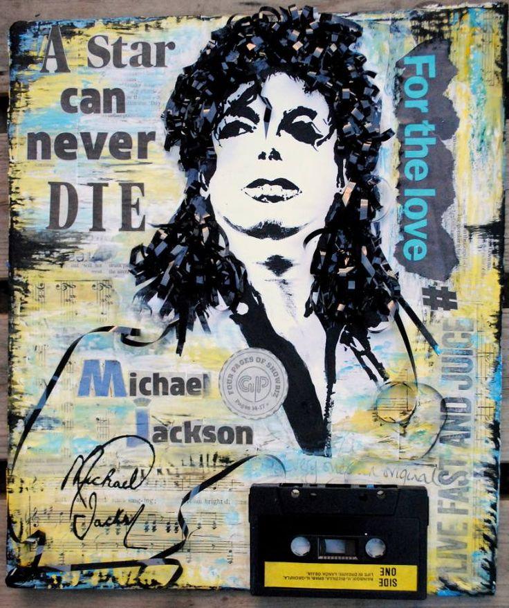 "Saatchi Art Artist Art Basm; Collage, ""Michael Jackson - A star can never DIE - Mixed Media colage - BASM"" #art"