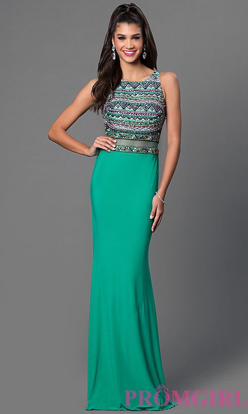 Green Floor Length Sleeveless JVN by Jovani Dress with Sheer Waist