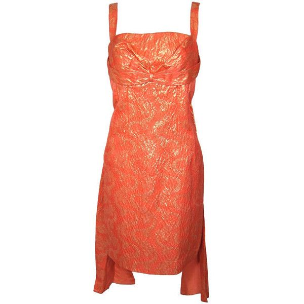 VINTAGE 1960s CORAL & GOLD BROCADE COCKTAIL DRESS w BACK SASH ❤ liked on Polyvore featuring dresses, gold brocade dress, brocade cocktail dress, sash belt, yellow gold dress and coral red dress
