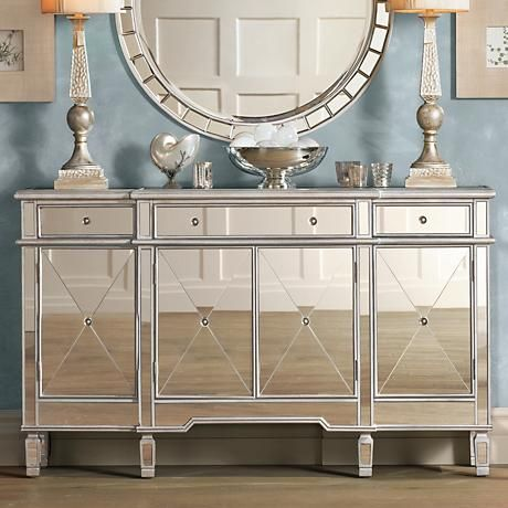 This Wide Mirrored Console Chest Will Make A Dazzling