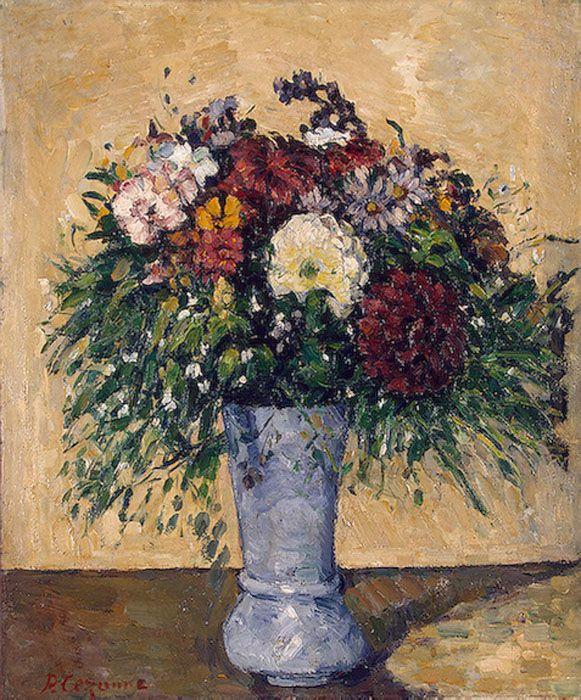 Поль Сезанн. Букет цветов в голубой вазе
