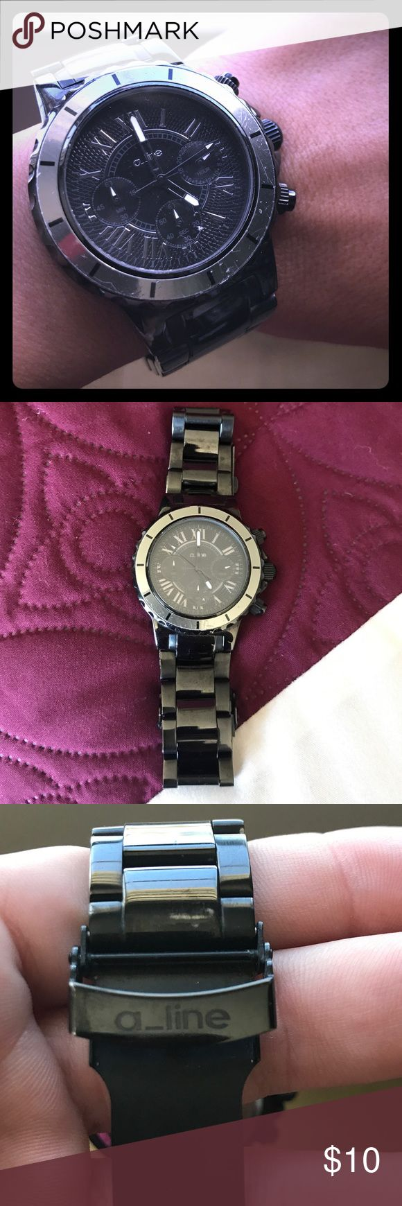 """A-Line watch Love this watch. Its unisex but it is a big face watch ladies.  If you dont like """"bulky"""" watches then dont buy this.  This watch works well and is in hood condition.  Wear/tear with a few scratches but still looks great on! a-line Accessories Watches"""
