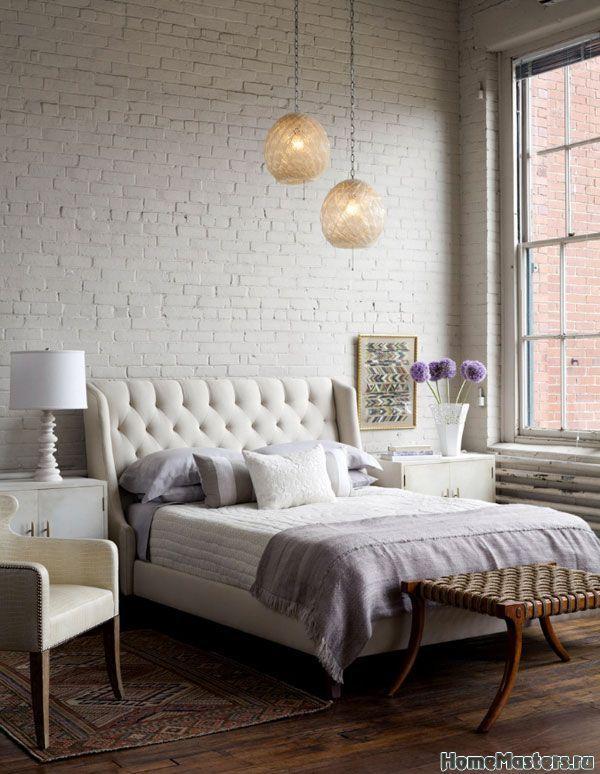 Белый кирпич в спальне   Дизайн интерьера спальни   Фотогалерея ремонта и дизайна   Школа ремонта. Ремонт своими руками