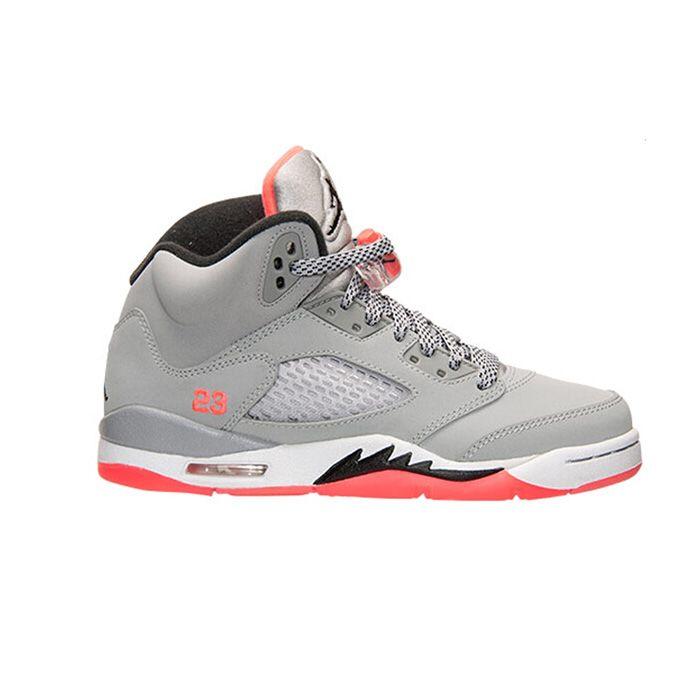 5d83684b21c934 Authentic 440892-018 Air Jordan 5 Retro Girls Wolf Grey Black-Hot Lava-White
