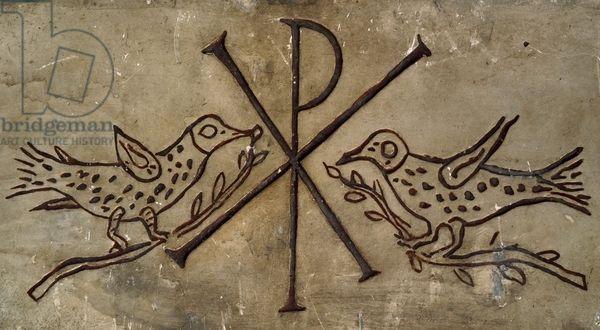 Frieze with the early Christian symbol of peace, Roman Civilization, 2nd century. Rome, Museo Della Civiltà Romana (Museum Of Roman