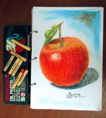 Oil Pastel Ideas An Apple A Day Keeps The Doctor Away Oil Pastel