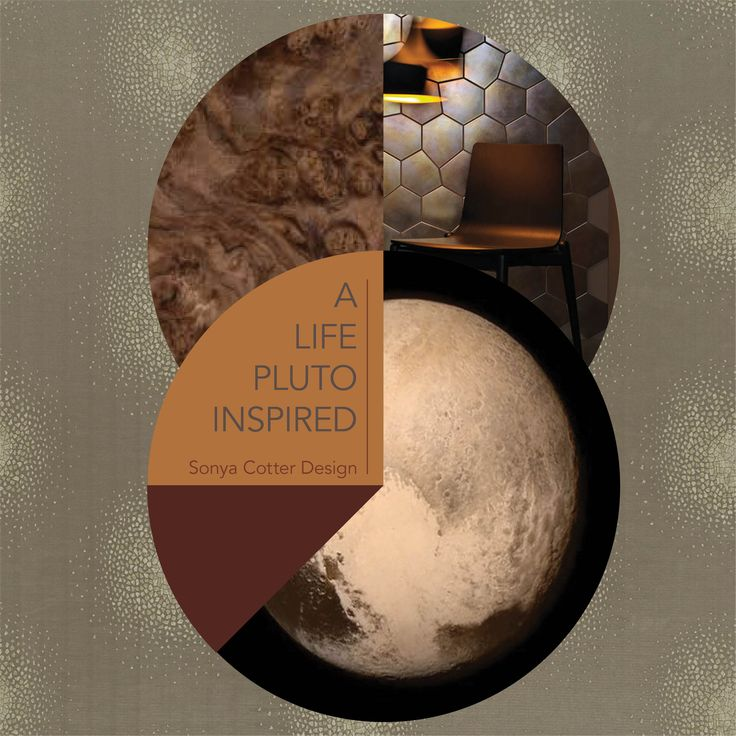 A LIFE PLUTO INSPIRED | STYLE SAMPLE Inspired by the beautiful imagery of Pluto, as captured by New Horizons spacecraft, this weeks Style Sample showcases rich bronze hues, celestial constellations and textures which remind us of the planets' landscape. Featured here are (clockwise from top right): - Tiles, Tresor Collection from Tile Space remind us of cratered surfaces. - Resene, Scoria. Earthy and volcanic. - Resene, Pendragon. - Walnut Burr Wood. This marbled wood finish has been…