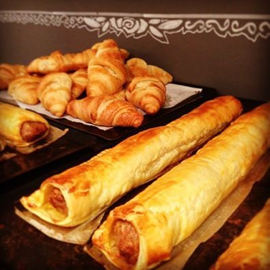 Freshly bakes sausage rolls and croissants, available daily from Pitfield Winchester. #fresh #homemade