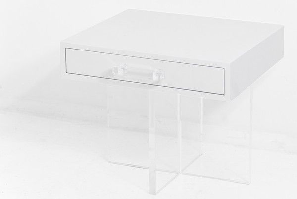lucite and white gloss bedside table