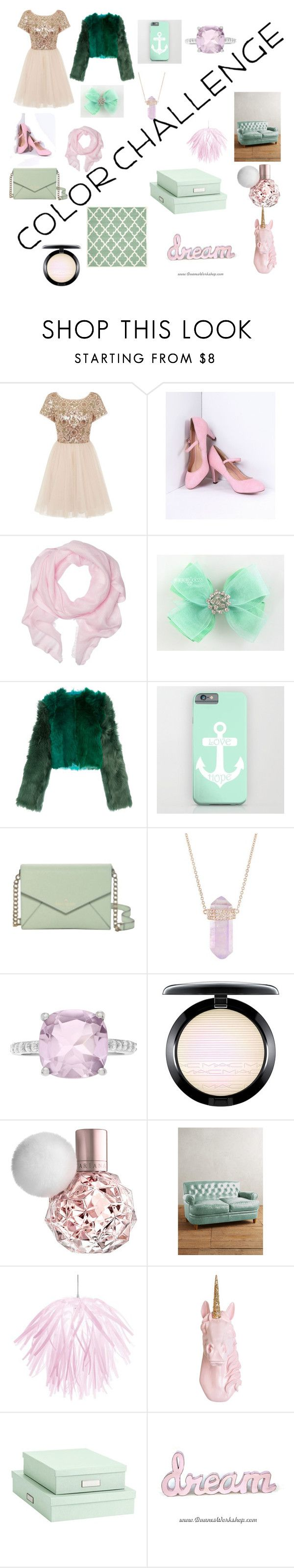 """""""green and blush color challenge"""" by mary-miller-4 ❤ liked on Polyvore featuring Chi Chi, Love Quotes Scarves, Diane Von Furstenberg, Kate Spade, Luna Skye, MAC Cosmetics, Anthropologie, Dainolite, Bigso and Home Decorators Collection"""