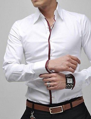 Langærmet Ensfarvet Mænds Fritid / Plusstørrelse Skjorte Bomuld / Polyester Blå…