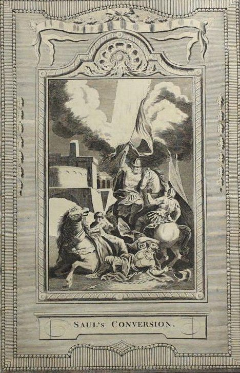 C1790 9x15 BIBLE LEAF Copper Plate Engraving Acts 94 Saul Christian Conversion