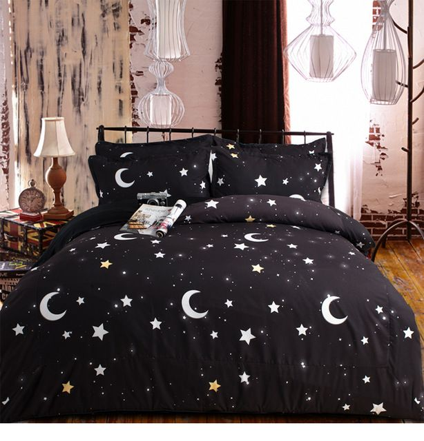 100 Cotton Black And White Stars Moon Bedding Set For Kids
