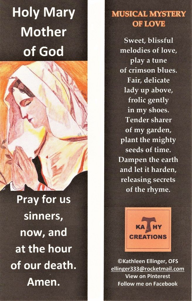 Blessed Mother Bookmark With Black Background By Kathleen Ellinger Ofs Blessed Mother Holy Mary Kathleen