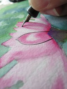 Mixed Media: How to Paint a Water Lily With Watercolor + Ink