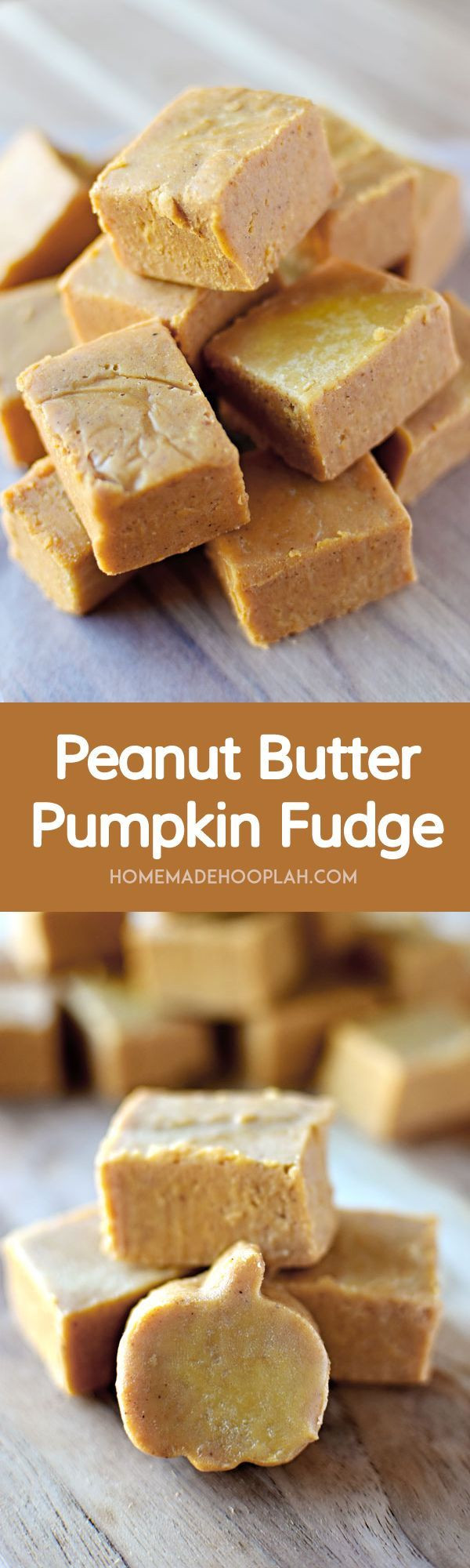 Peanut Butter Pumpkin Fudge! White chocolate fudge laced with peanut butter and pumpkin that you can whip together in less than 10 minutes! | HomemadeHooplah.com