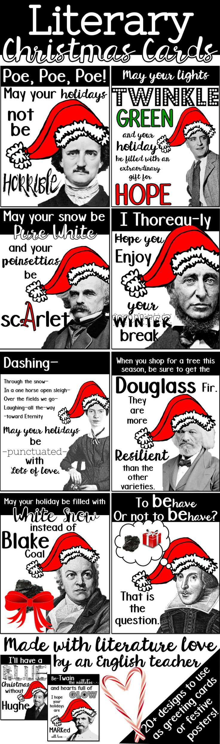 Literary Christmas cards, Bookish Christmas cards, English teacher Christmas cards, Author Christmas cards, Bookish Holiday cards, Bookish greeting cards