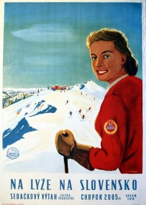 "vintage ski poster - Czecho-Slovakia - 1954 poster says - ""Skiing in Slovakia"""