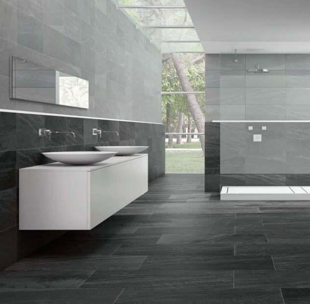 Cheap salle de bain gris anthracite et gris clair for Faience grise