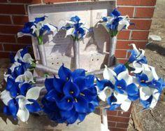 Royal Blue White Calla Lily Bridal Bouquet by SilkFlowersByJean