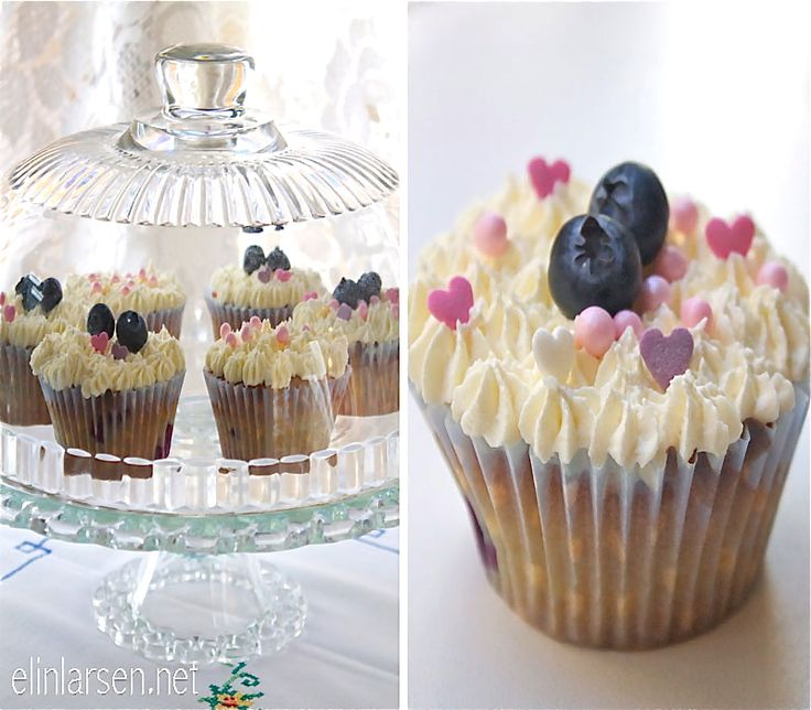 Blåbær cupcakes med sjokolade frosting