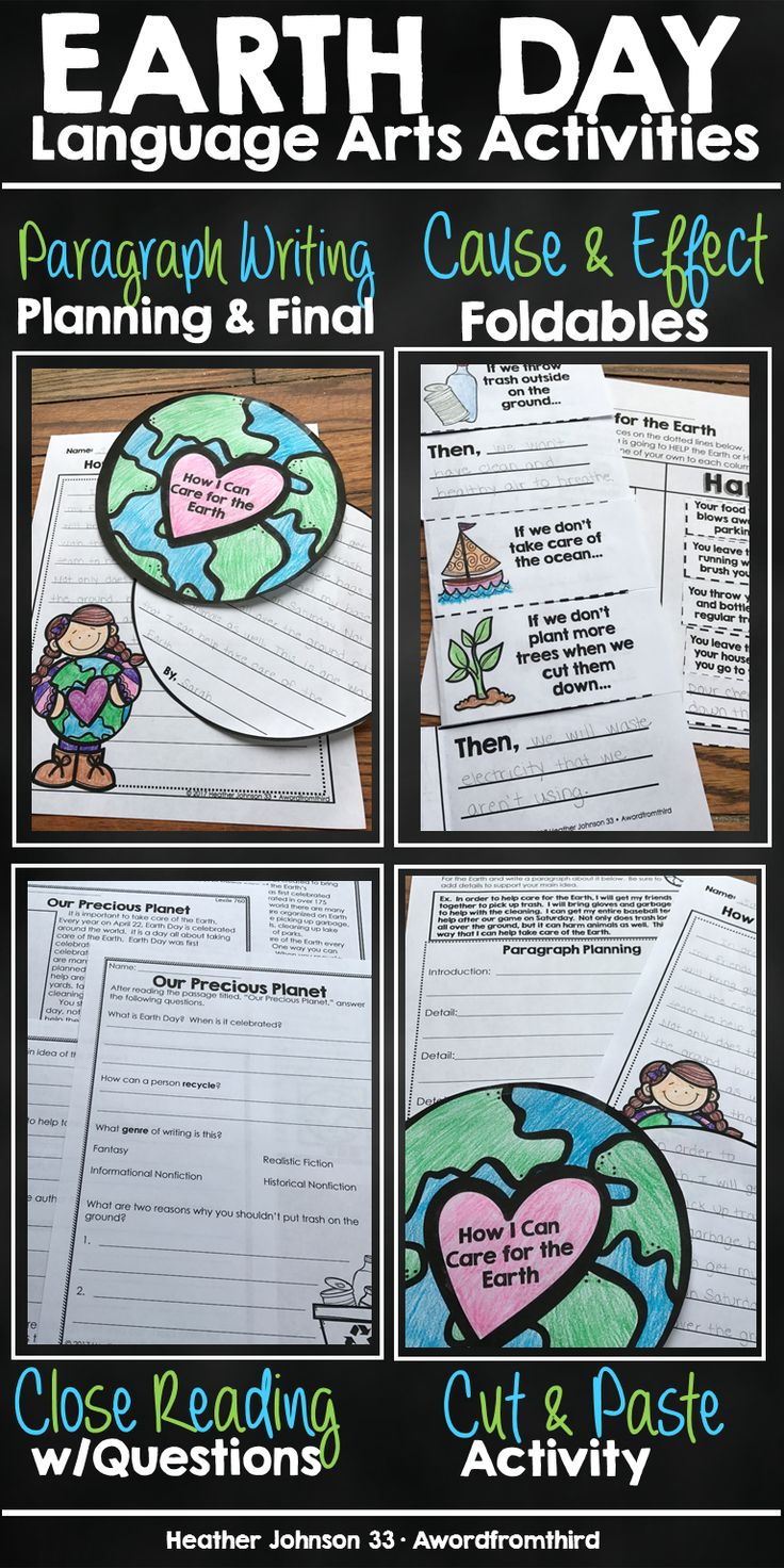 Everything I use for my No Prep (just copy)!  Earth Day reading and writing block!  Cause and Effect, paragraph writing with planning sheet and final draft options, close reading with questions!