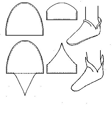"""Common"" Anglo Saxon Shoe (c700-1000) Historical Shoe Designs/Number 14 http://www.personal.utulsa.edu/~marc-carlson/shoe/SHOES/SHOE14.HTM"