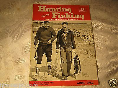 Hunting and Fishing Magazine April 1942 1940's vintage