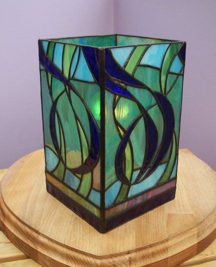Swirl Tower Lamp - Mad Bert's Contemporary Stained Glass